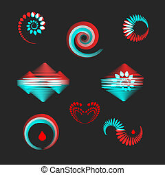 Design elements in red and blue - set of logos, spiral,...
