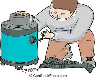 Man Unclogging Wet-Dry Vacuum - Illustration of janitor...