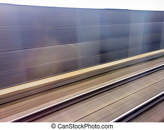 rails of railroad train - tracks and rails out in motion...