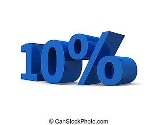 10% - 3d rendered illustration of a blue 10% sign
