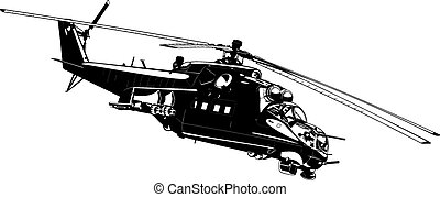 attack helicopter Mi-24 - black and white illustration of...
