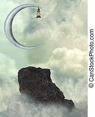 Fantasy Landscape with big moon and rock in the ocean