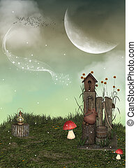 Fantasy landscape in the garden with big moon