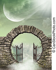 Fantasy landscape in the heaven with gate