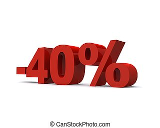 -40% - 3d rendered illustration of a red -40% sign