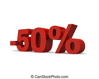 -50% - 3d rendered illustration of a red -50% sign