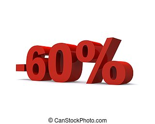 -60% - 3d rendered illustration of a red -60% sign