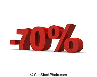 -70% - 3d rendered illustration of a red -70% sign