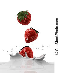 strawberry milk splash - 3d rendered illustration of a...