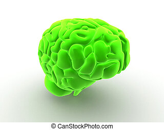 green brain - 3d rendered anatomy illustration of a human...
