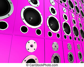3d speakers - 3d rendered illustration of many pink boxes