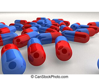 casules - 3d rendered illustration of blue and red pills