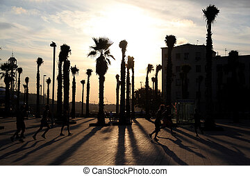 group of people playing soccer on promenade during sunset