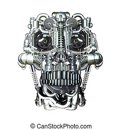 Homo Mechanicus - Skull of many mechanical parts, Homo...