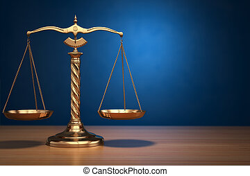 Concept of justice Law scales on blue background 3d