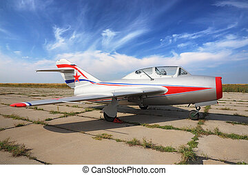 MiG-15 - silver restored training jet fighter MiG-15 staing...