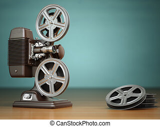 Video, cinema concept Vintage film movie projector and reels...