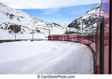 Bernina Express, railway between Italy and Switzerland -...