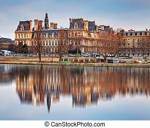 Seine River and Hotel-de-Ville, City Hall, Paris