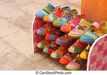 handmade of shoes put on the shelves
