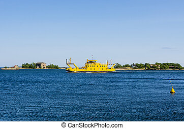 Ferry - Yellow ferry for transportation in the archipelago...
