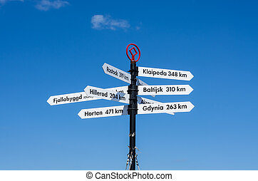 Pole with signs - Post with signs showing the locations in...