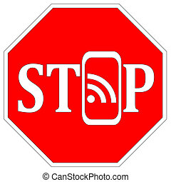 Stop using Smartphones - Concept sign that the use of mobile...