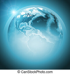 Green earth globe with continents, transparent. Elements of...