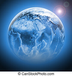 Blue earth globe with continents, transparent Elements of...