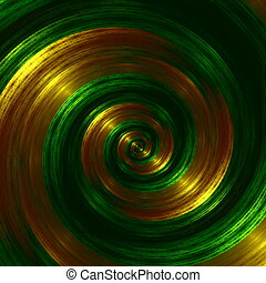 Artistic Green Fractal Spiral. Abstract Hypnotic Background....