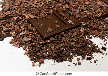 cocoa beans - the cocoa beans with dark chocolate