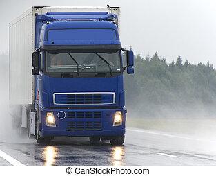 azul, Camión, mojado, camino