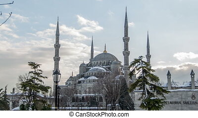 Blue Mosque in winter season - time lapse photography,...