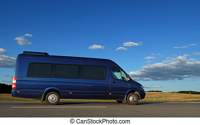 minibus on highway - blue minibus for transporting...