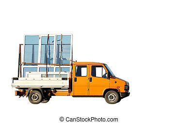Truck delivering double-glazed winows - Orange minitruck...