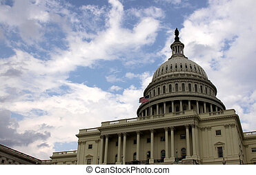 Capitol Building and Blue Sky - The west side of the United...