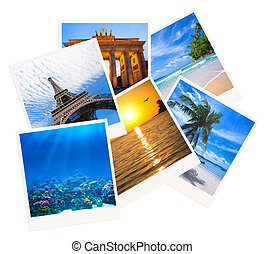 Various travel photo collage isolated on white background -...