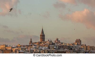 Galata Tower at Sunset - time lapse photography, Time Lapse...
