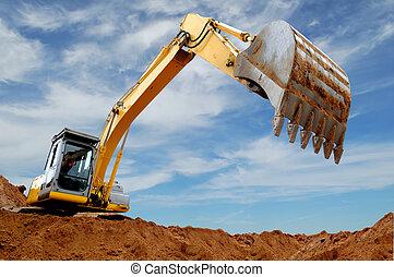 Excavator loader in sandpit - Excavator standing in sandpit...