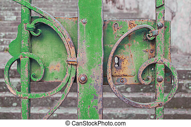 green iron gate closed