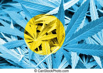 Palau Flag on cannabis background. Drug policy. Legalization...