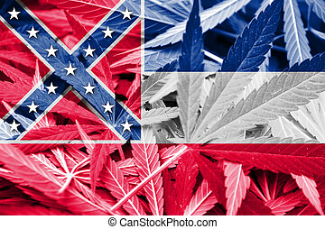 Mississippi State Flag on cannabis background Drug policy...