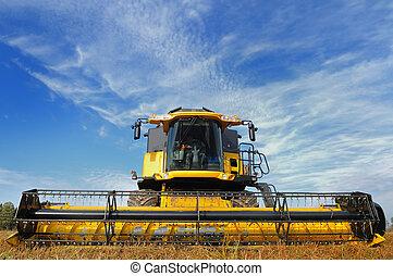combine in the field