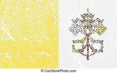 Flag of Vatican with old texture Vector illustration