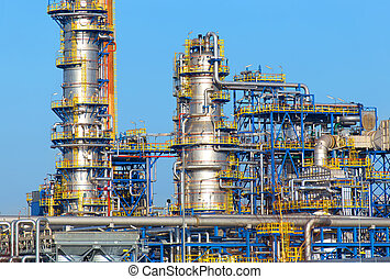 Oil industry equipment installation, metal pipes and...