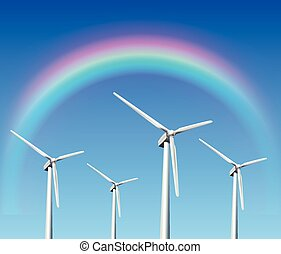 wind turbines background - Wind turbines, rainbow over blue...