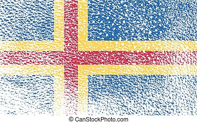 Flag of Aland with old texture Vector illustration