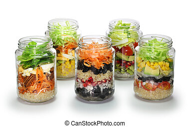 homemade salad in glass jar, no lid