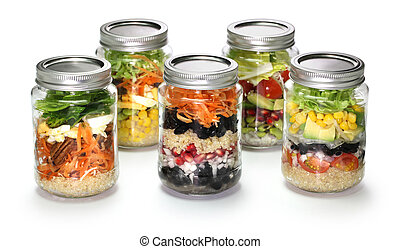 homemade salad in glass jar