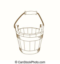 hand drawn bucket - hand drawn wooden bucket